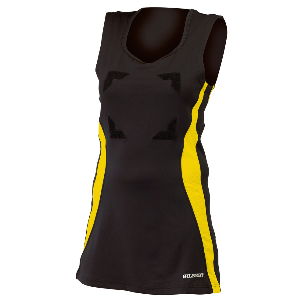 Gilbert Eclipse Netball Dress Black/Gold - Nutz About Netball