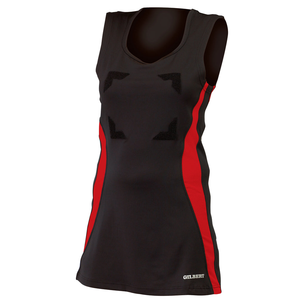 Gilbert Eclipse Netball Dress Black/Red - Nutz About Netball
