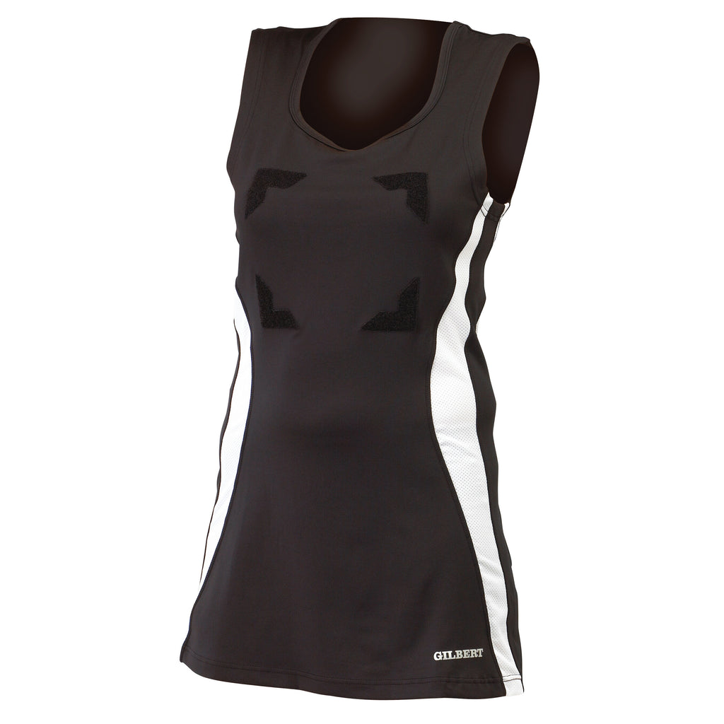 Gilbert Eclipse Netball Dress Black/White - Nutz About Netball