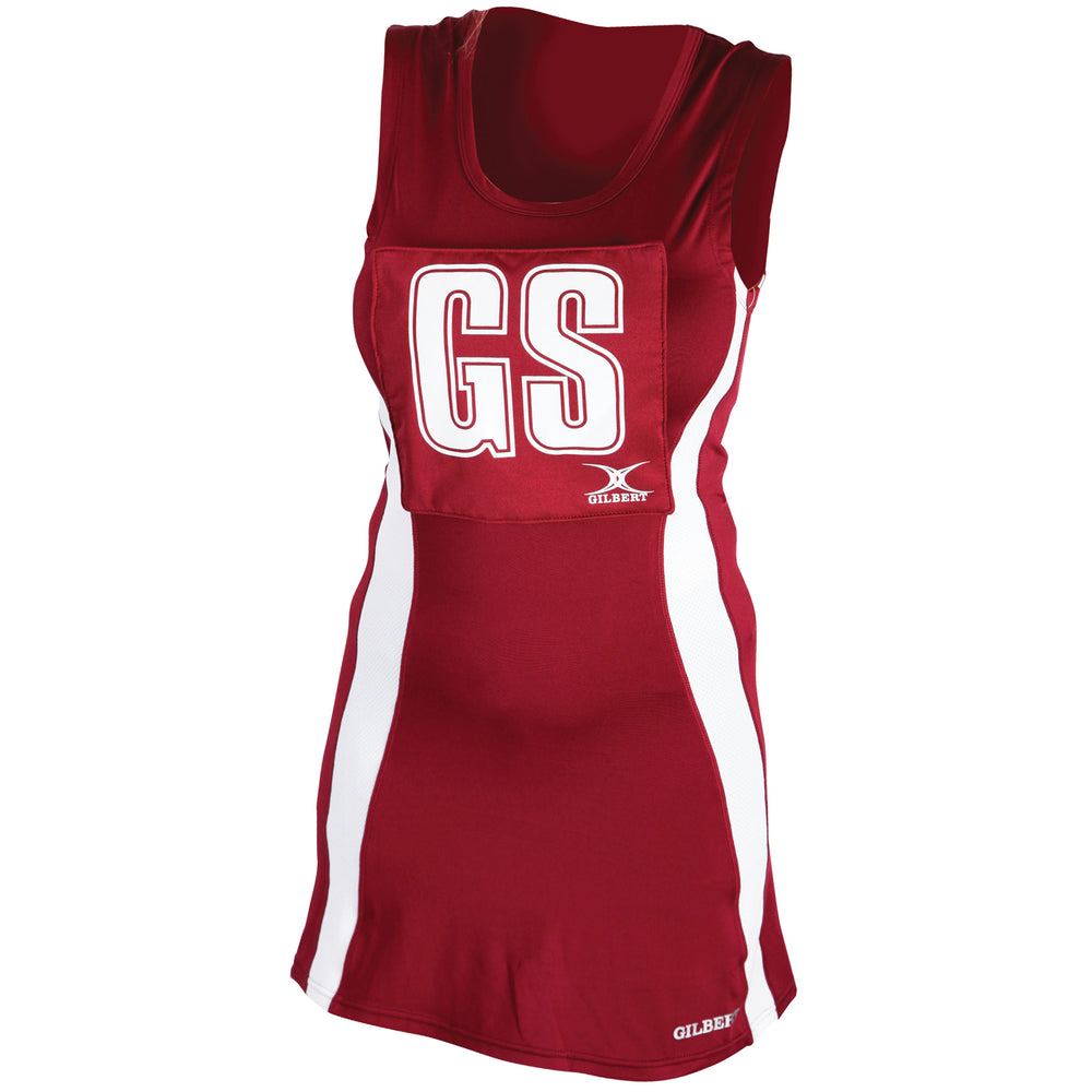 Gilbert Eclipse Netball Dress Maroon/White - Nutz About Netball