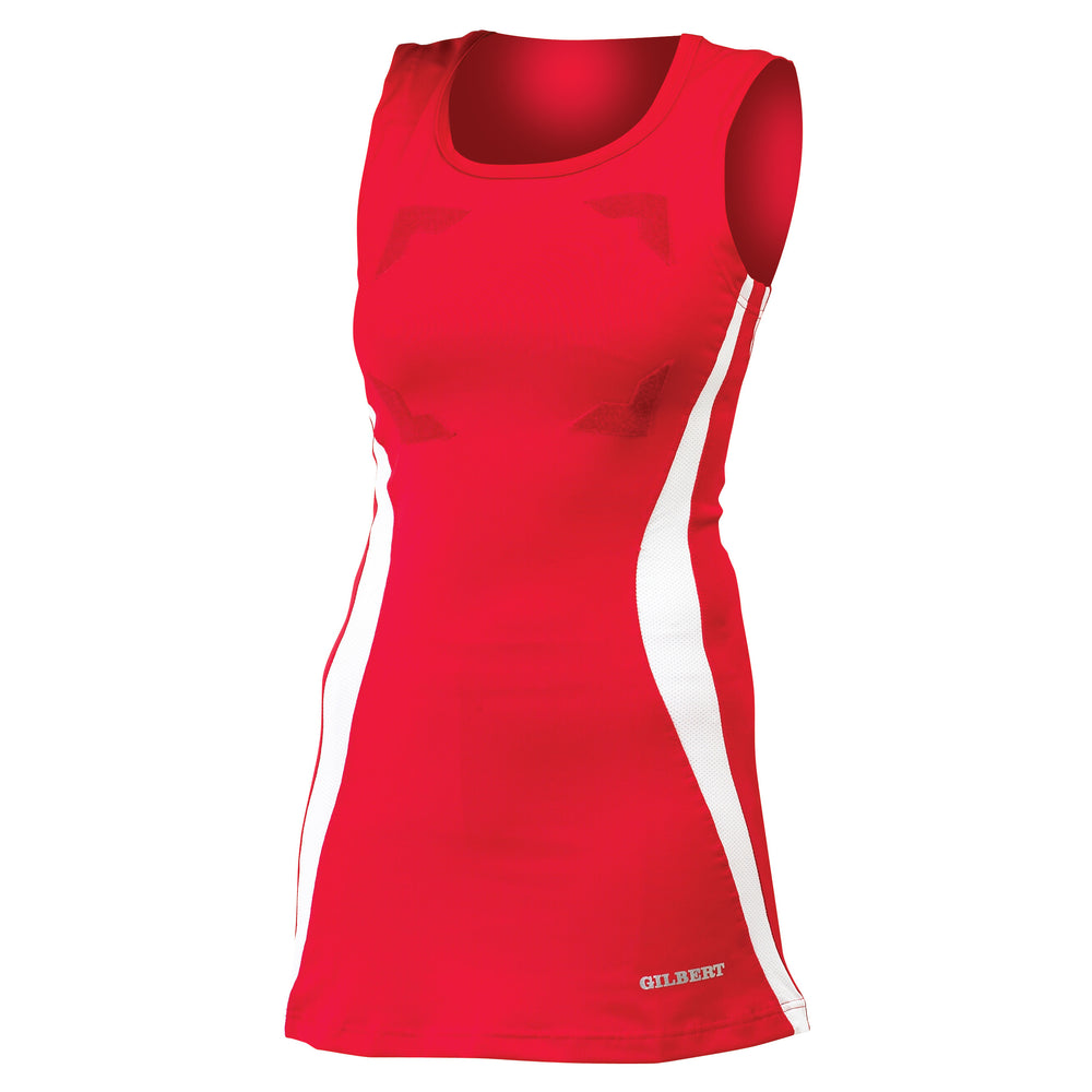 Gilbert Eclipse Netball Dress Red/White - Nutz About Netball