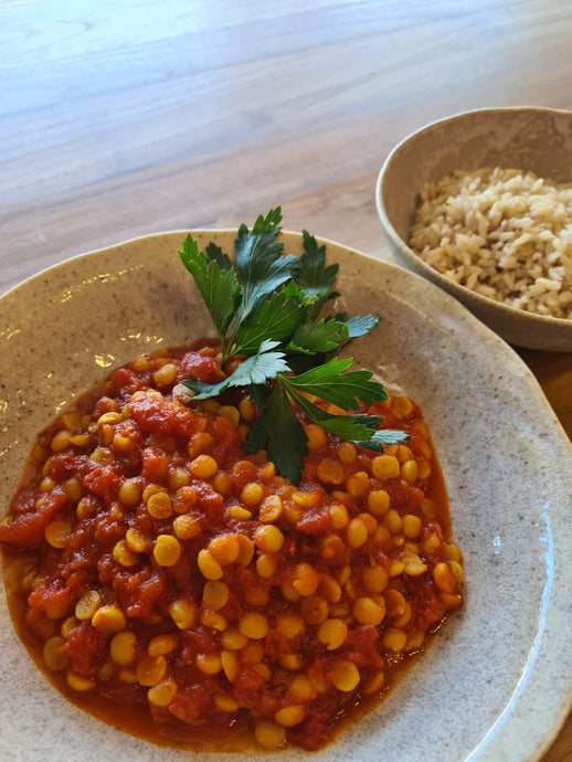 Dhal on Brown Rice Curry