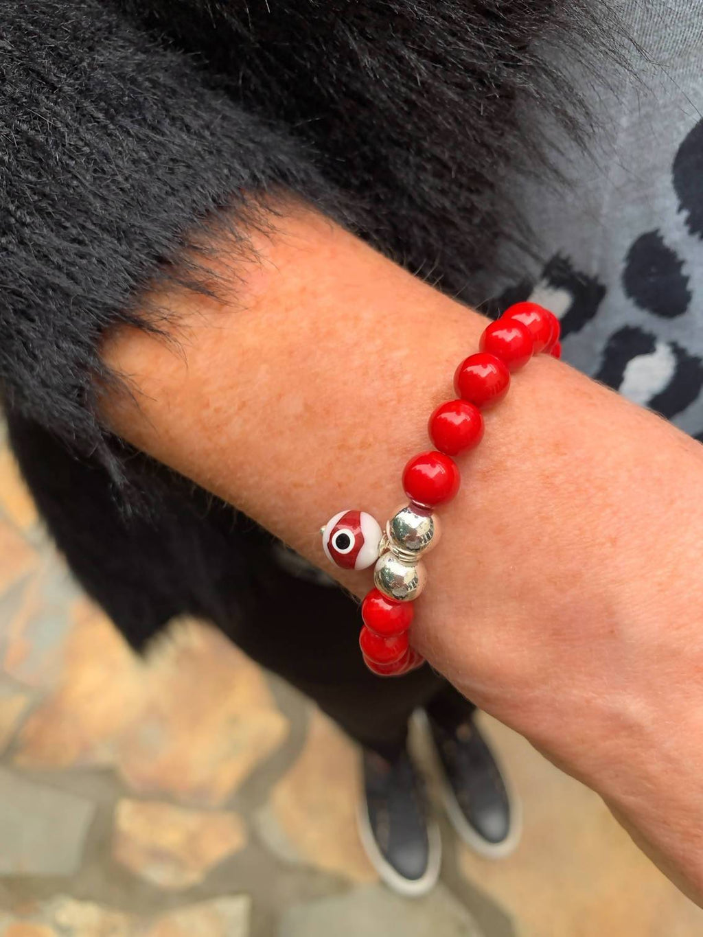 See No Evil Bead Bracelet Red - Live Shopping Tours