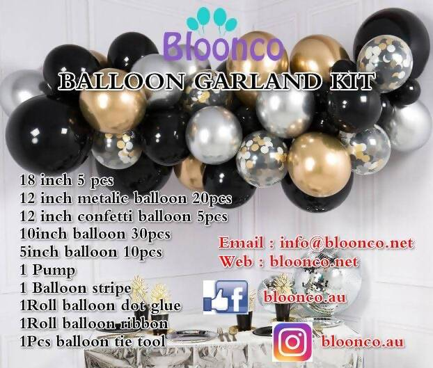 Black, Gold and Silver Balloon Garland - Live Shopping Tours