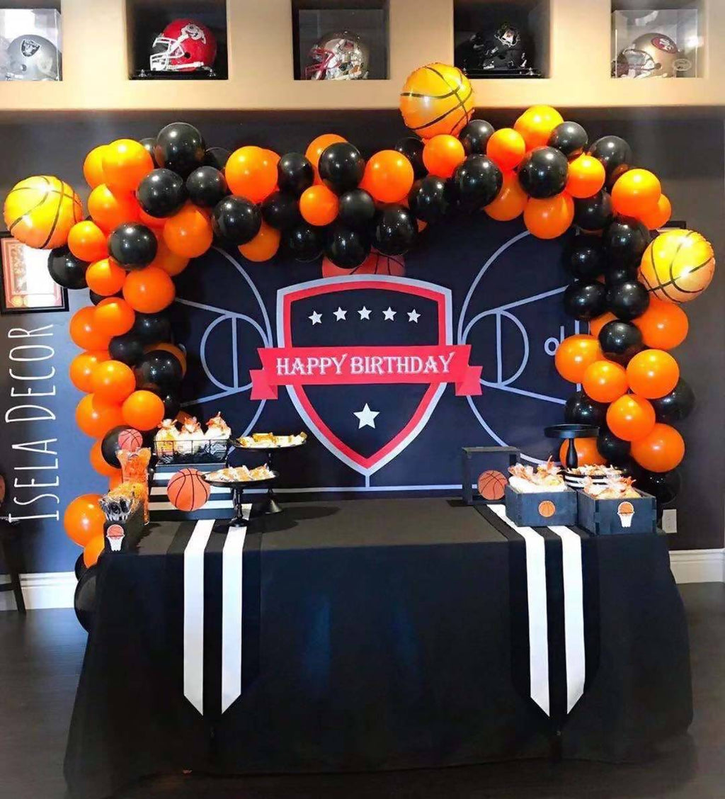 Basketball Orange and Black Balloon Garland - Live Shopping Tours