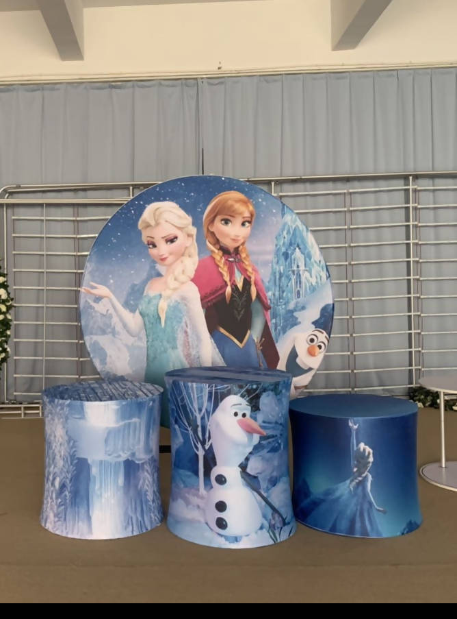 Round 2mt fabric backdrop Frozen hire - Live Shopping Tours