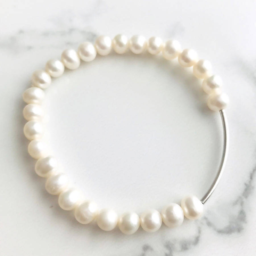 Fresh Water Pearl Sterling Silver Stretch Bracelet - Live Shopping Tours