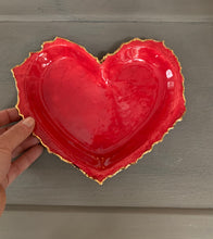 "Load image into Gallery viewer, Red Porcelain Heart 8""x6"""