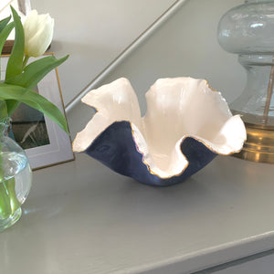 "Two Tone Denim Blue and White Porcelain Bowl 10"" x 6"""