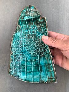 Emerald Crocodile Embossed Porcelain Tray