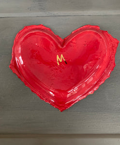 "Red Porcelain Heart 8""x6"""
