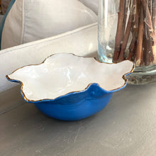 "Load image into Gallery viewer, Caribbean Blue & white  Two Tone Porcelain Bowl 7""x3"""
