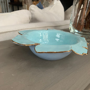 "Light Blue  and Periwinkle Two Tone Porcelain Dish 7""x2"""