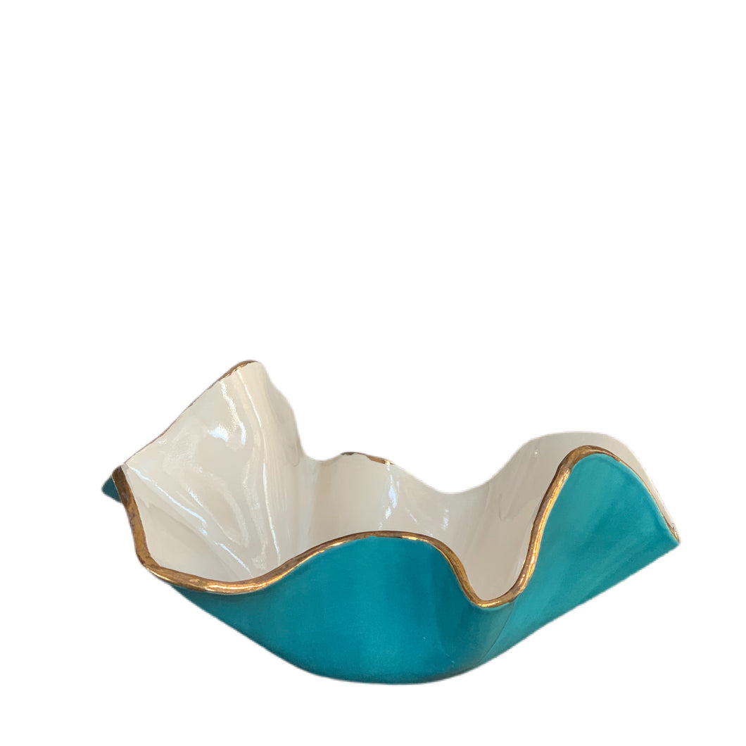 "Two Tone Turquoise and White Wavy Porcelain Bowl 8""x3"""