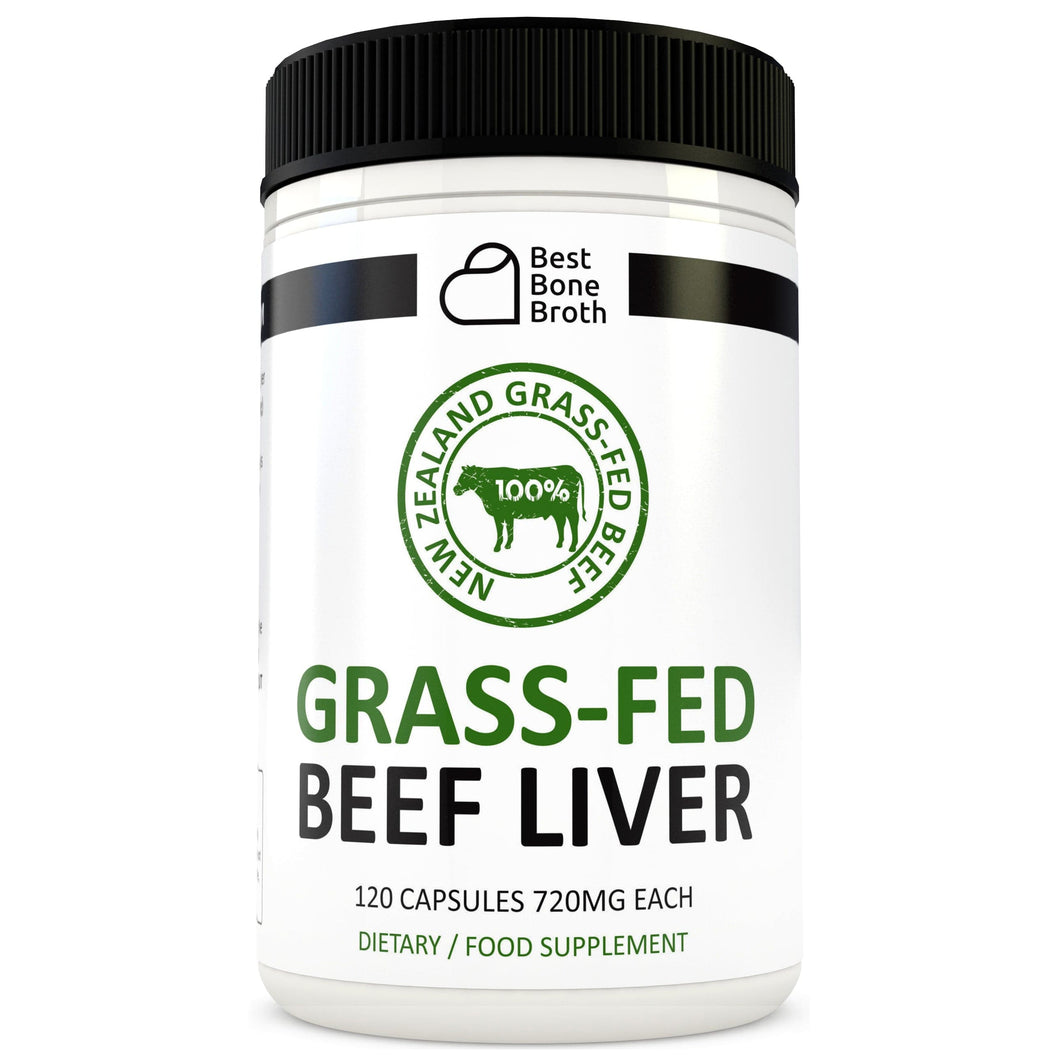 Beef Liver Capsules by Best Bone Broth (120 Capsules Per Bottle) - Freeze Dried Pure Grass-Fed Formula Beef Liver Supplements