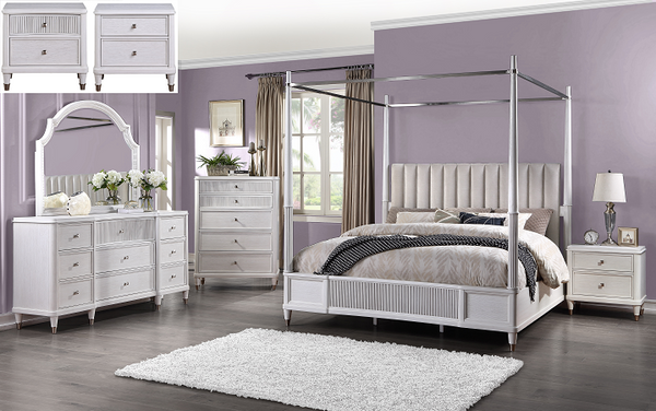 Celestia Fabric & Off White California King Bed (Canopy) image
