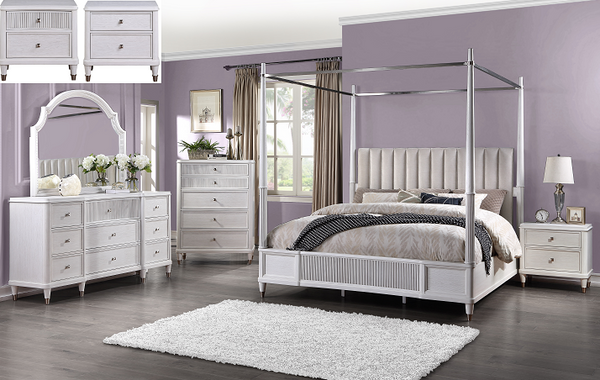 Celestia Fabric & Off White Queen Bed (Canopy) image