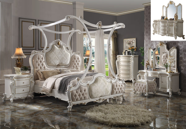 Picardy Fabric & Antique Pearl Eastern King Bed (Canopy) image