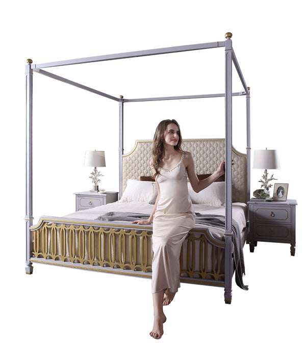 Acme Furniture House Marchese Queen Canopy Bed in Pearl Gray 28860Q image