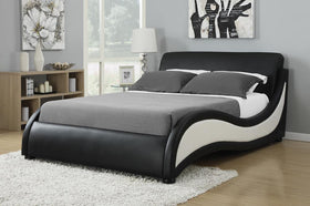 Niguel Contemporary Black and White Upholstered Queen Bed