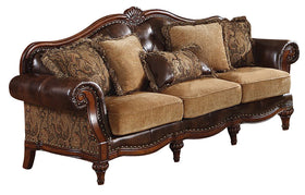 Acme Dreena Traditional Bonded Leather and Chenille Sofa 05495