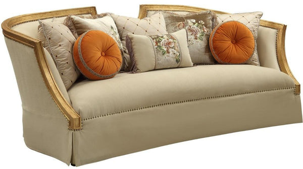 Acme Furniture Daesha Sofa in Tan Flannel & Antique Gold 50835 image