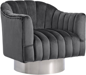 Farrah Grey Velvet Accent Chair
