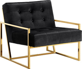 Pierre Black Velvet Accent Chair