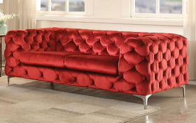 Acme Adam Loveseat in Red Velvet 52796
