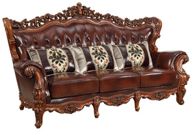 Acme Furniture Eustoma Sofa in Cherry and Walnut 53065
