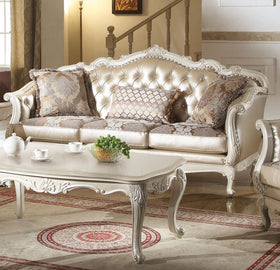 Acme Chantelle Sofa w/3 Pillows in Pearl White 53540