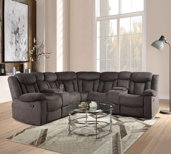 Acme Rylan Motion Sectional Sofa in Dark Brown 54965 image