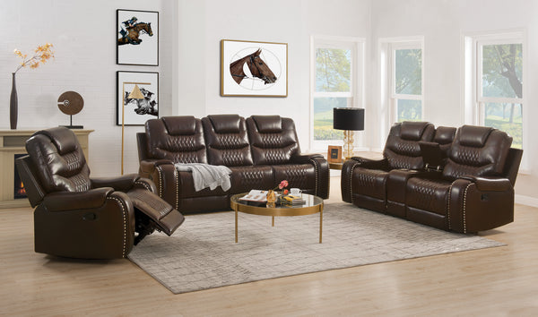 Braylon Brown PU Sofa+Loveseat (Motion) image