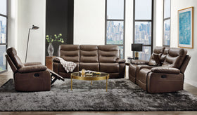 Aashi Brown Leather-Gel Match Sofa (Motion)