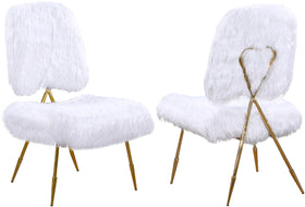 Magnolia White Faux Fur Accent Chair