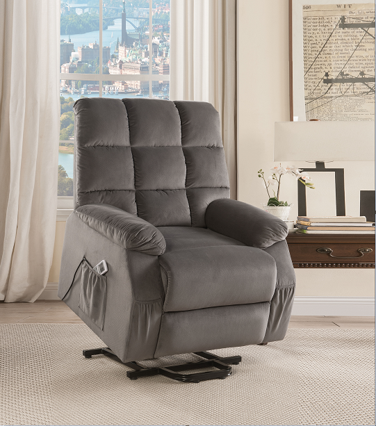 Ipompea Gray Velvet Recliner w/Power Lift & Massage image