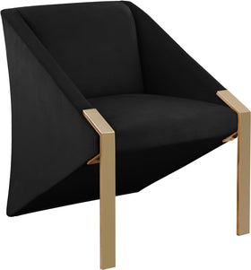 Rivet Black Velvet Accent Chair