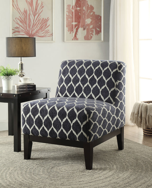 Hinte Dark Blue Chenille Accent Chair image