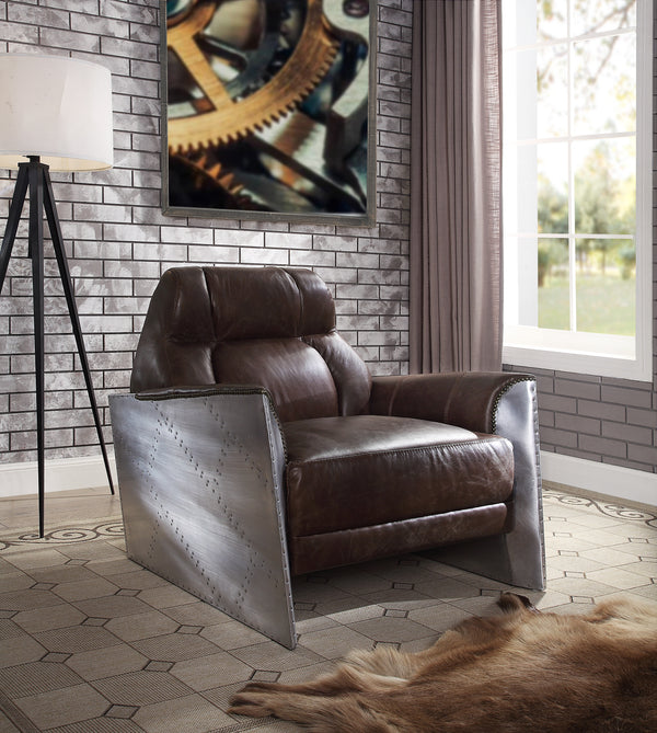 Brancaster Espresso Top Grain Leather & Aluminum Accent Chair image