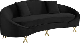 Serpentine Black Velvet Sofa