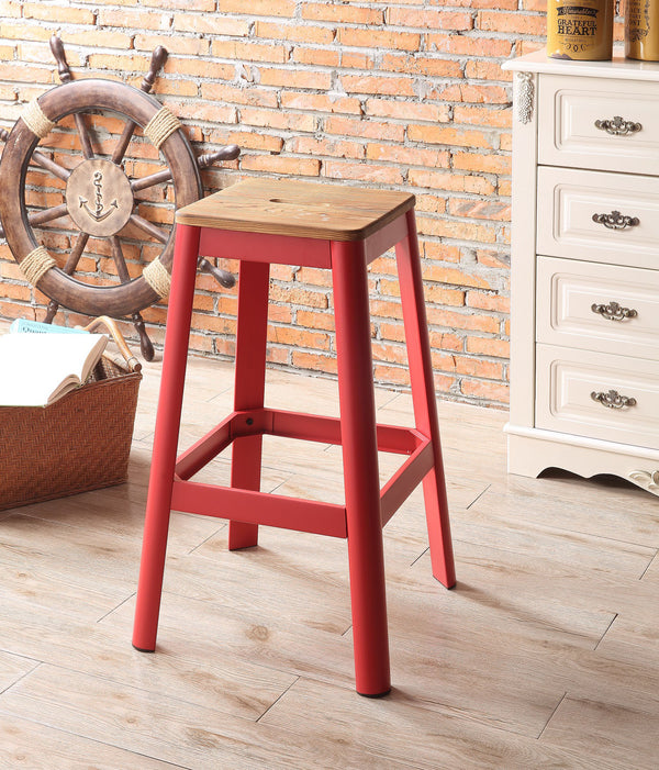 Jacotte Natural & Red Bar Stool (1Pc) image