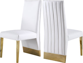 Porsha White Faux Leather Dining Chair