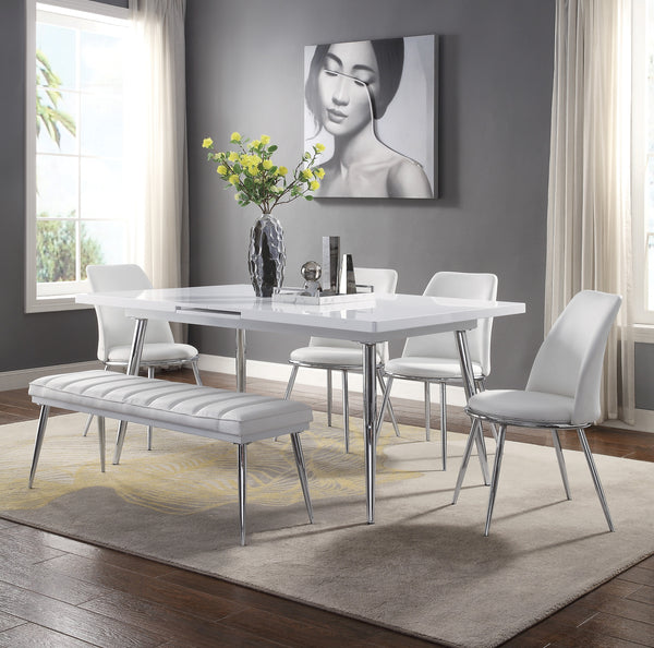 Weizor White High Gloss & Chrome Dining Table image