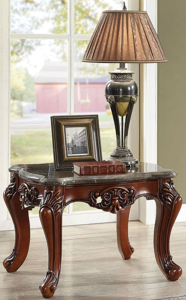 Acme Furniture Eustoma End Table in Marble/Walnut 83067 image