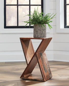 Industrial Reclaimed Wood Accent Table