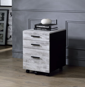 Jurgen Antique White & Black File Cabinet