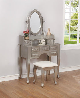 G930137 Contemporary Metallic Silver Vanity Set
