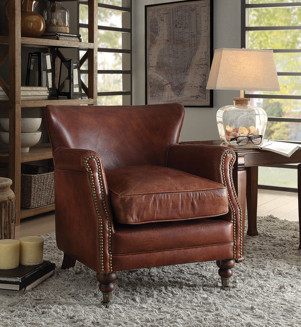 Leeds Vintage Dark Brown Top Grain Leather Accent Chair image
