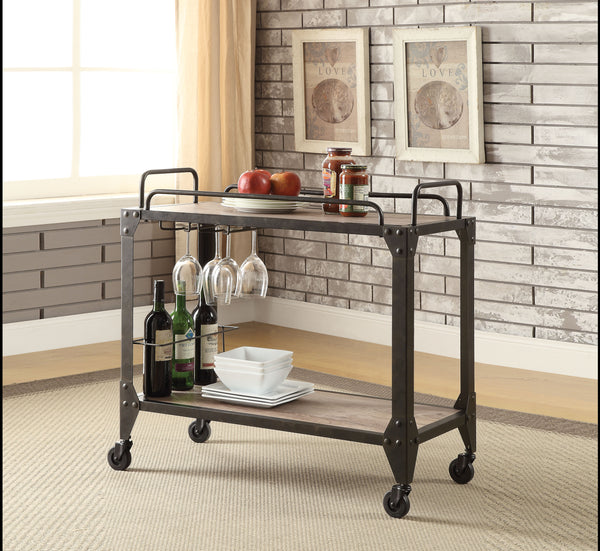 Caitlin Rustic Oak & Black Serving Cart image