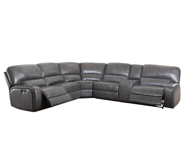Saul Gray Leather-Aire Sectional Sofa (Power Motion/USB) image